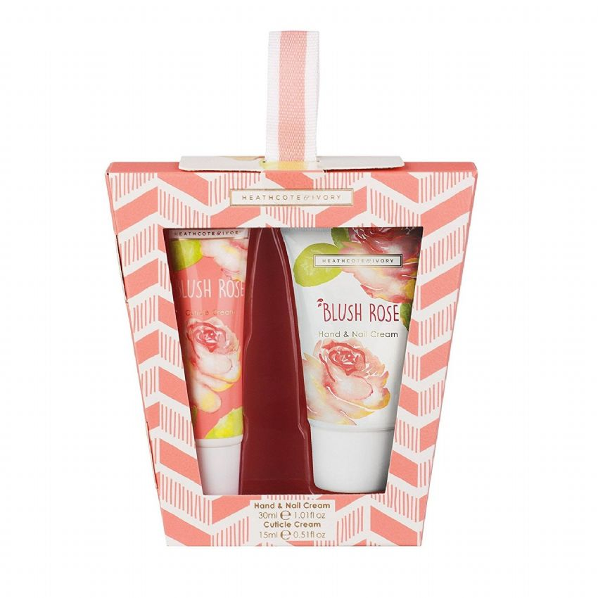 Blush Rose Travel Mini Hand Care Gift Set (Cuticle & Hand Nail Cream) Heathcote & Ivory